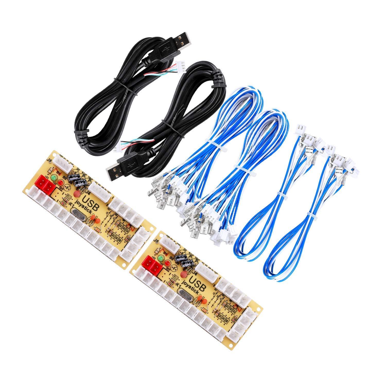 Easyget 2 Player Zero Delay Generic Game Controller USB PC Encoder Board to Happ Arcade Joystick Arcade Buttons for MAME & Raspberry Pi 1/2/3 RetroPie DIY Projects & PC Game Controller & Arcade Control Panel 2X-Happ-Encoder