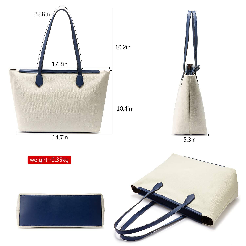 Canvas Tote Bag Shoulder Bag for Women Top Handle Shopper Handbag Satchel Purse Set 3pcs