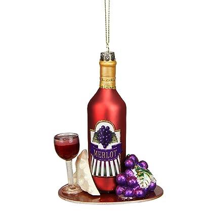 Northlight Toscana Bodega Rojo Botella de Vino Merlot Adorno de Navidad de Cristal con Purpurina (