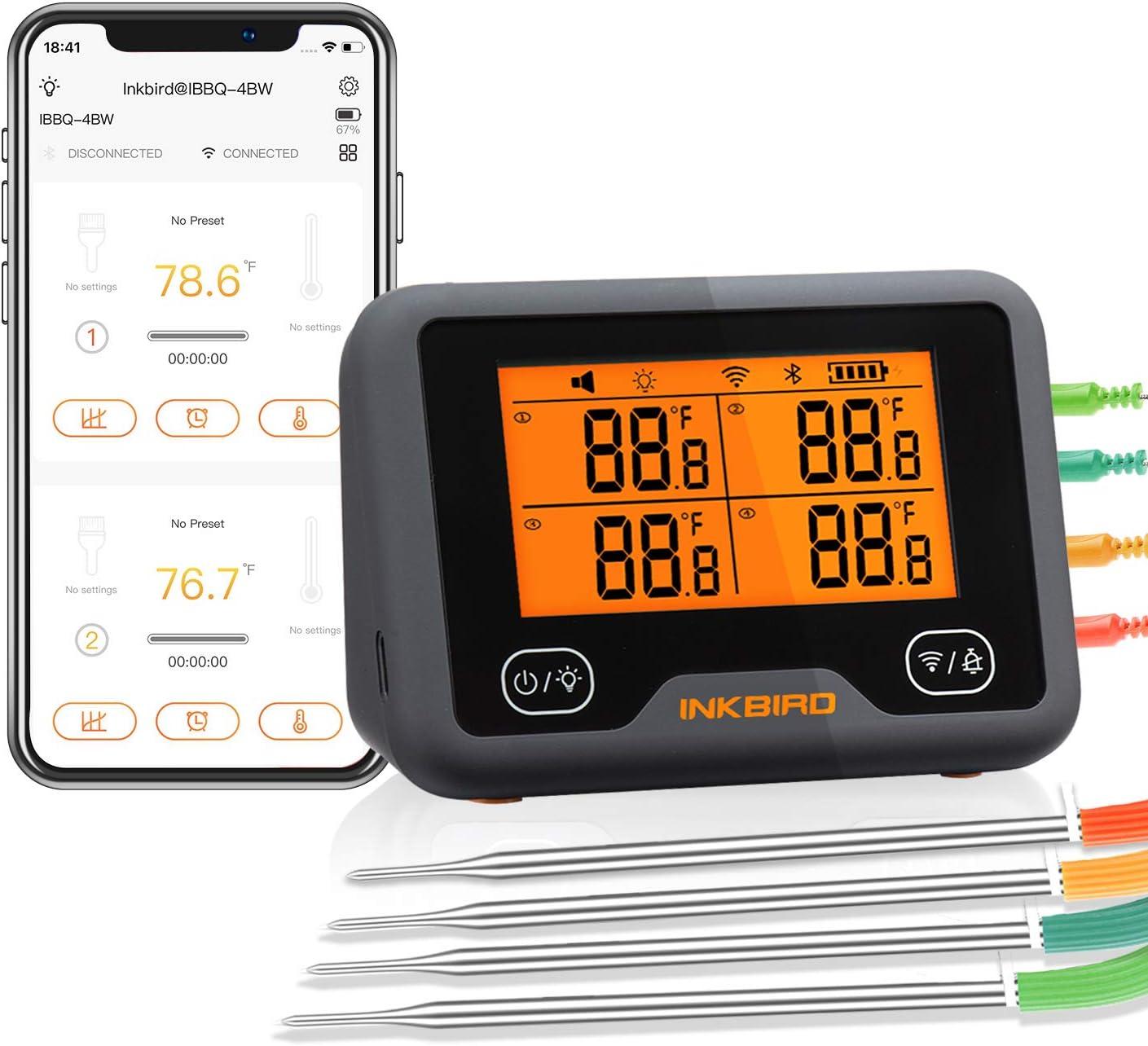 Inkbird IBBQ-4BW Wi-Fi Bluetooth BarbecueThermometer Termómetro inalámbrico recargable para barbacoa con 4 sondas Temp Gráfico Calibración Temporizador Alarma Termómetro digital para carne