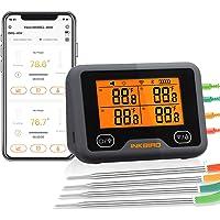 Inkbird Wi-Fi & Bluetooth Vleesthermometer IBBQ-4BW, Oplaadbare Draadloze BBQ thermometer met 4 probes voor Roker, Oven…