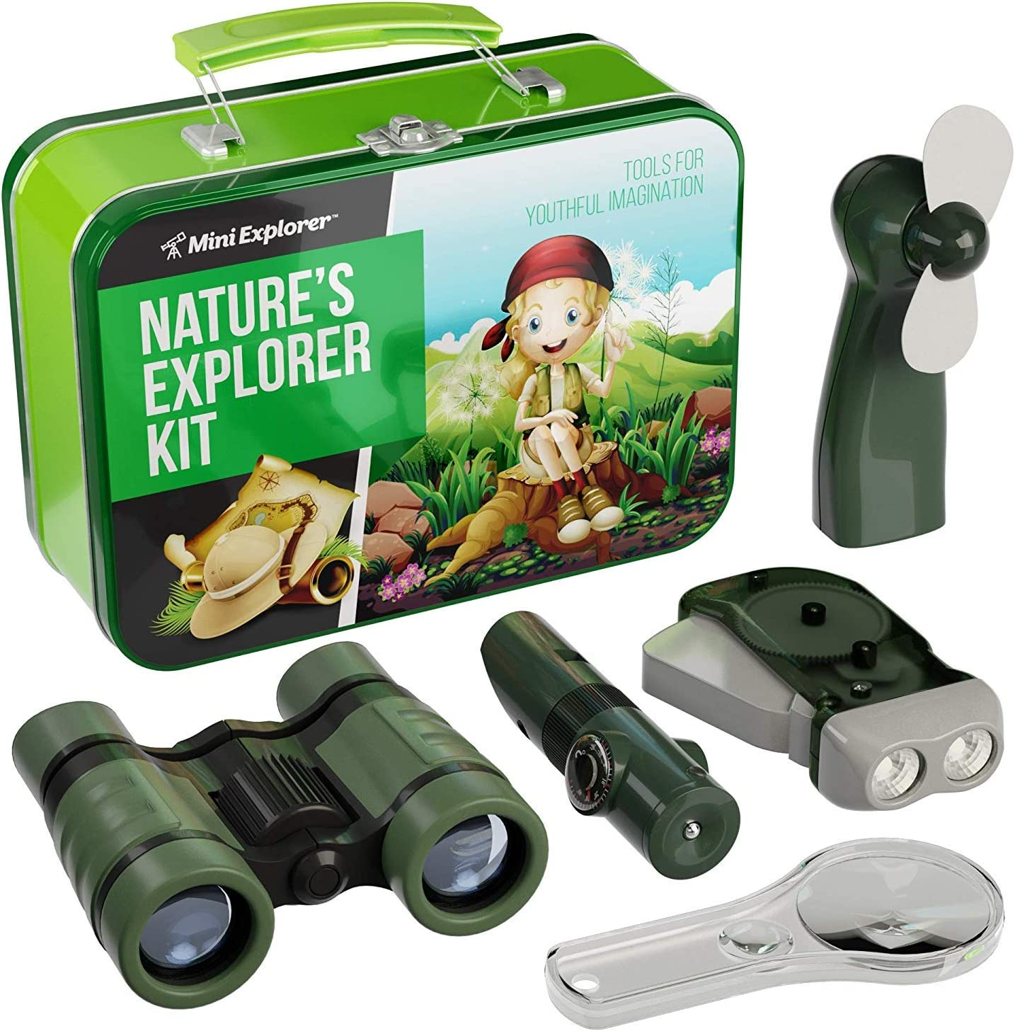 Explorer Kit for Kids - Camping Gear & Outdoor Exploration Gift - Inc: Binoculars, Fan, Magnifying Glass, Crank Flashlight, 5-in-1 Multi Tool & Beautiful Case - Gifts for 4-7 Year Old Boys & Girls