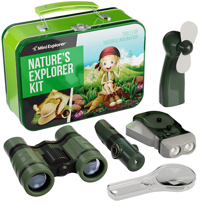 9-in-1 Explorer Kit for Kids - Includes: Kids Binoculars, Fan, Magnifying Glass, Crank Flashlight, 5-in-1 Multi Tool in Beautiful Tin Case for Kids Camping & Storing - Explore Kit for Boys & Girls by Mini Explorer
