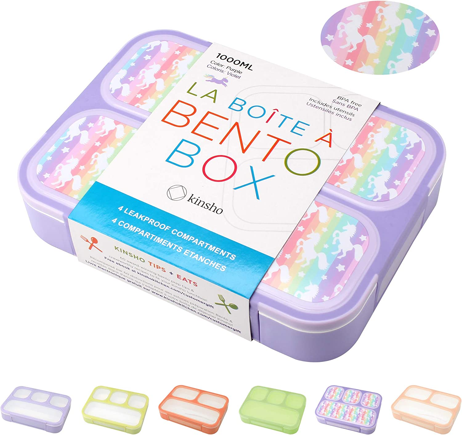 Unicorn Bento Lunch Box for Girls, Kids | Snack Containers with 4 Compartment Dividers, Boxes for Toddlers Pre-School Daycare Tween Lunches BPA Free, Food and Microwave Safe | Purple Rainbow Unicornio