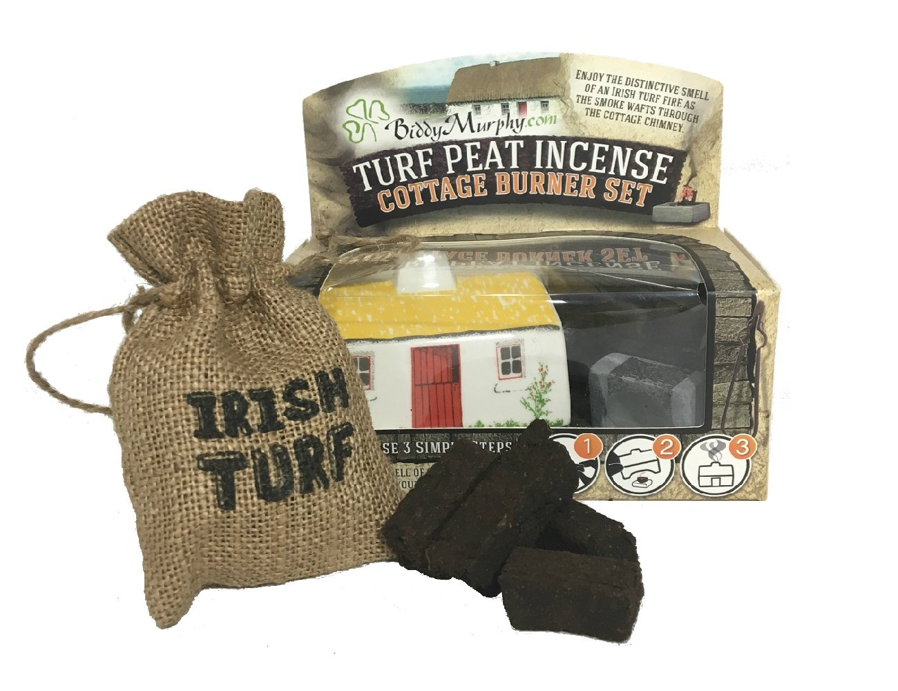 Biddy Murphy Irish Peat Turf Incense Burner Ceramic Cottage with Irish Turf Bag Made in Ireland
