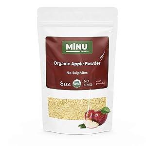 MiNU Organic Apple Powder (8 oz) #1 Smoothie Mix, MiNU Mindful Nutrition, No Sulfur, No Added Sugar, Dried, Superfood, Raw, Paleo, Vegan, NonGMO, Gluten Free gomix