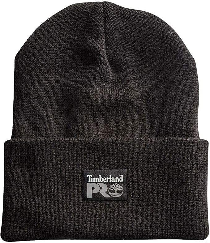 Jet Black Timberland Pro beanie with the black patch