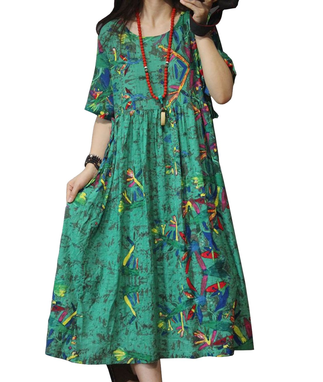 YESNO YE8 Women Casual Loose Dress Floral Flare Dress 100% Linen Bohemia Style