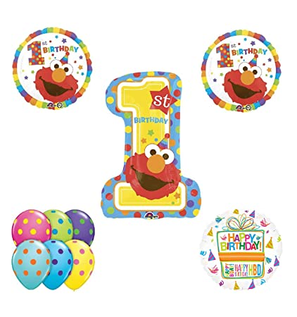 Amazon Elmo 1st Birthday Party Supplies And Balloon Bouquet Decorations Toys Games