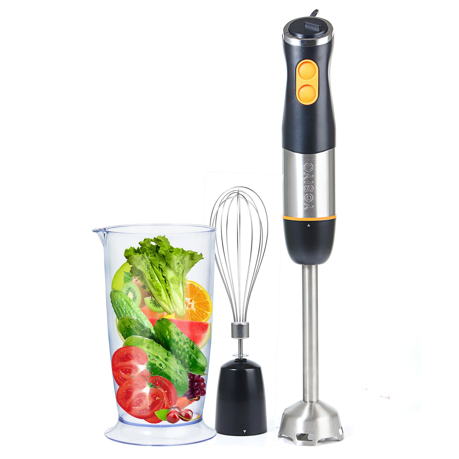 Hand Held Blender Stick 3-in-1 Set with Stainless Steel Blades and 2+6 Speed Control Includes Egg Whisk and Beaker Attachment for Soup, Smoothies, Juicer, Baby Food- Black
