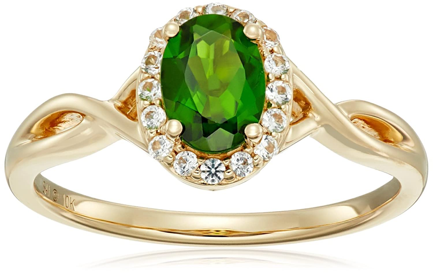 10k Yellow Gold Chrome Diopside and Created White Sapphire Ring, Size 7