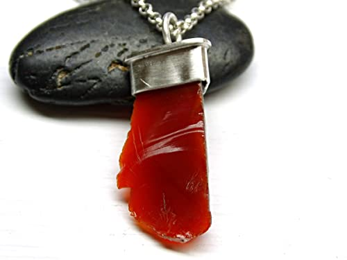 Mexican Fire Opal Men Necklace Sterling Silver Natural Gem Dragon Shield One of a Kind Handmade Red Green Orange Fire One of a Kind 467 G
