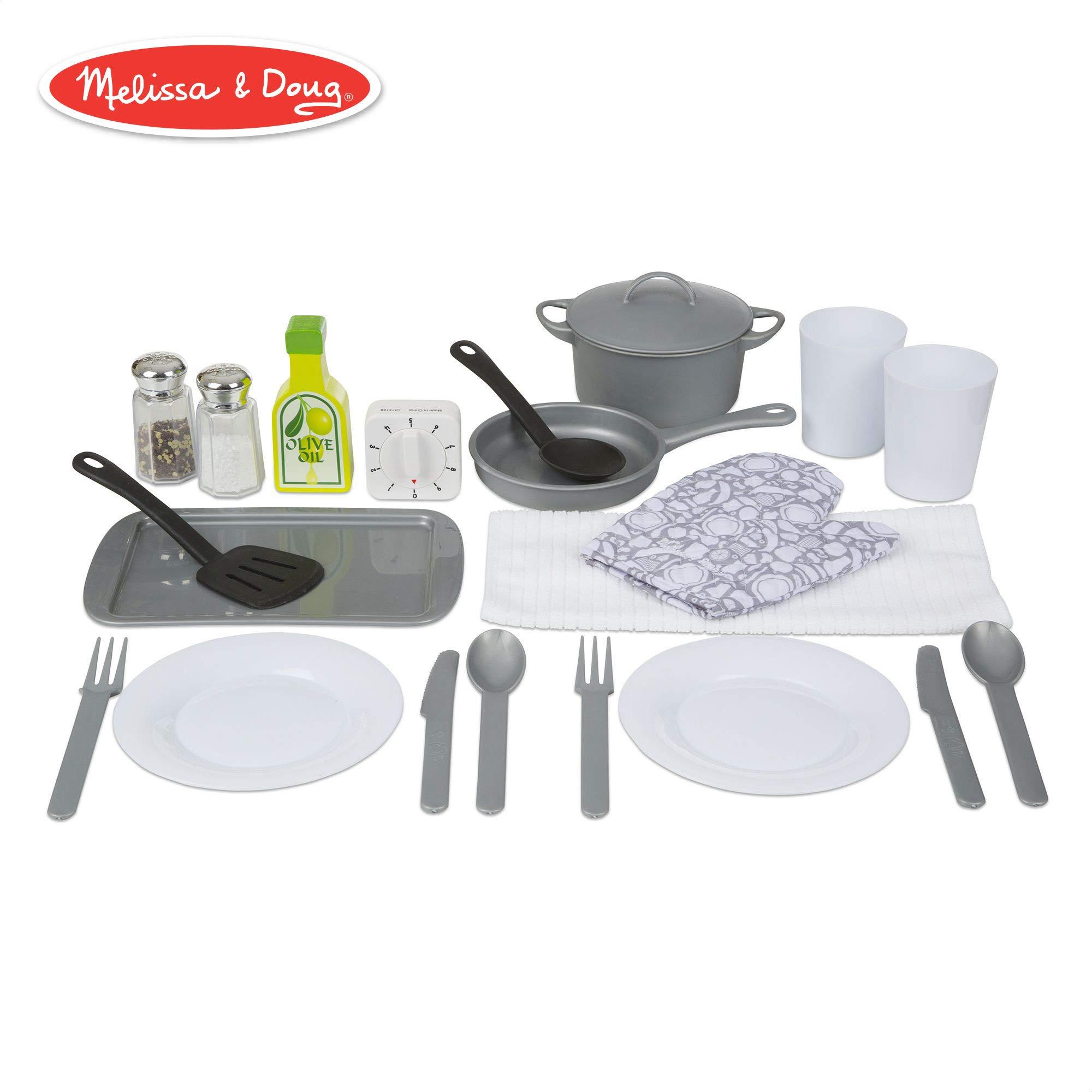 Melissa & Doug Kitchen Accessory Set (Pretend Play, Durable Construction, Companion to Kitchen Sets, 22-Piece Set, 10.5″ H × 13.5″ W × 4″ L)