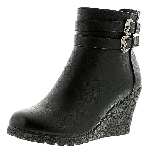 Apache Nuevo Mujer Negro Andrea Botines De Cuña con Cremallera - Negro - GB Tallas DE 3-9 - Negro, 39.5: Amazon.es: Zapatos y complementos