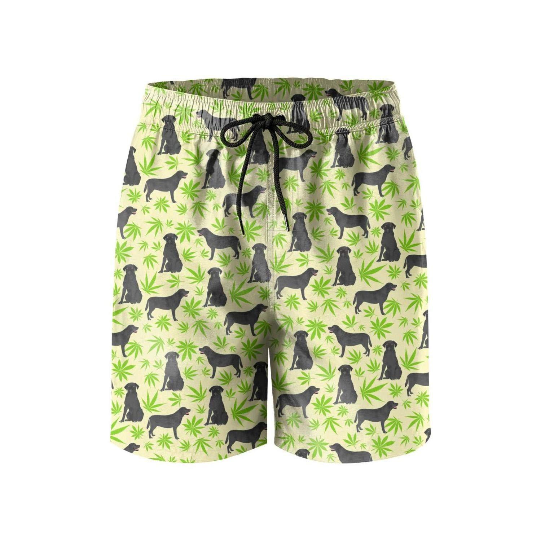 Cannabis Leaf Dog Green Beach Swimming Trunks Mens Shorts Adjustable Microfiber