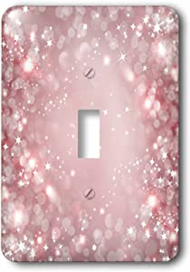 3dRose lsp_222283_1 White and Pink Sparkle Bokeh With Stars Single Toggle Switch