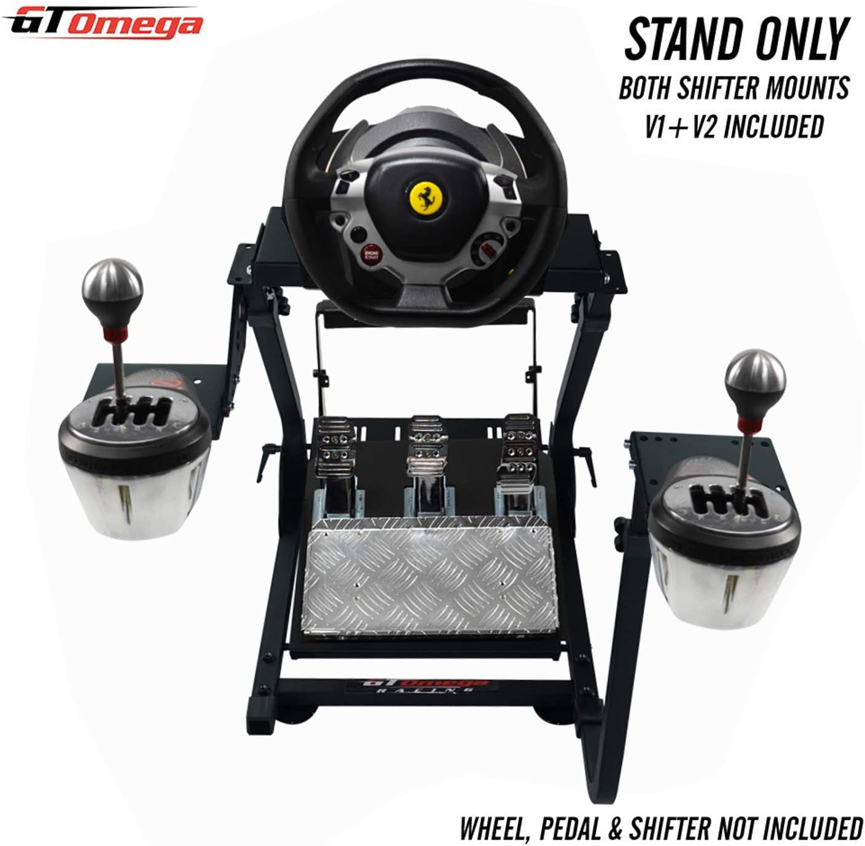 GT OMEGA Soporte del Volante para el Volante Thrustmaster TX Racing Ferrari 458 Italia y Pedales, Xbox One, PC - Compacto, Plegable e Inclinable, Ajustable a la Mejor Experiencia de Consola de