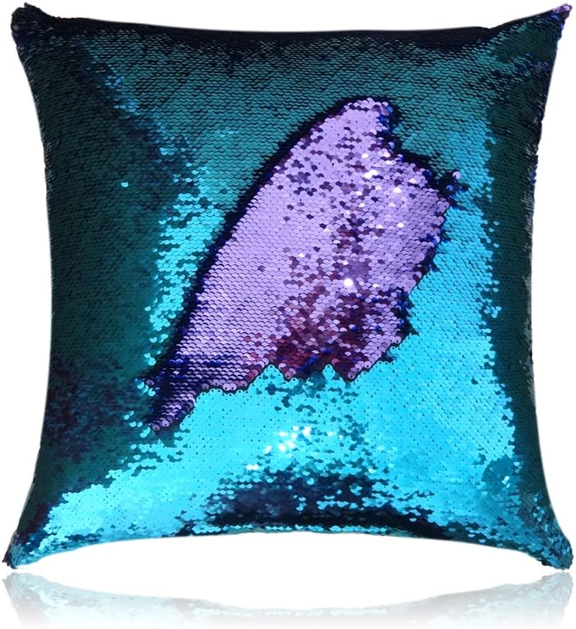 "San Tungus 16""x16"" Teal and Light Purple Mermaid Pillow Reversible Sequin Pillow Cushions That Changes Color"