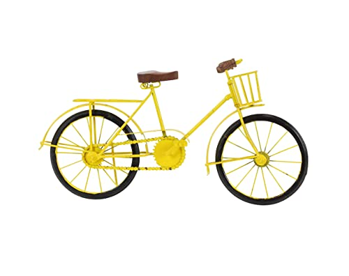 Deco 79 27350 Metal and Wood Bicycle Sculpture, 10 x 19 , Yellow Black Brown