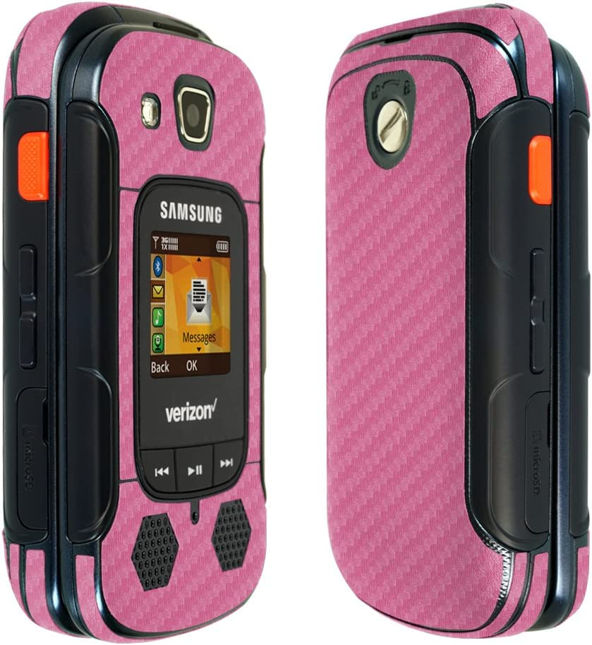 Full Coverage TechSkin with Anti-Bubble Clear Film Screen Protector Skinomi Pink Carbon Fiber Full Body Skin Compatible with Samsung Convoy 3