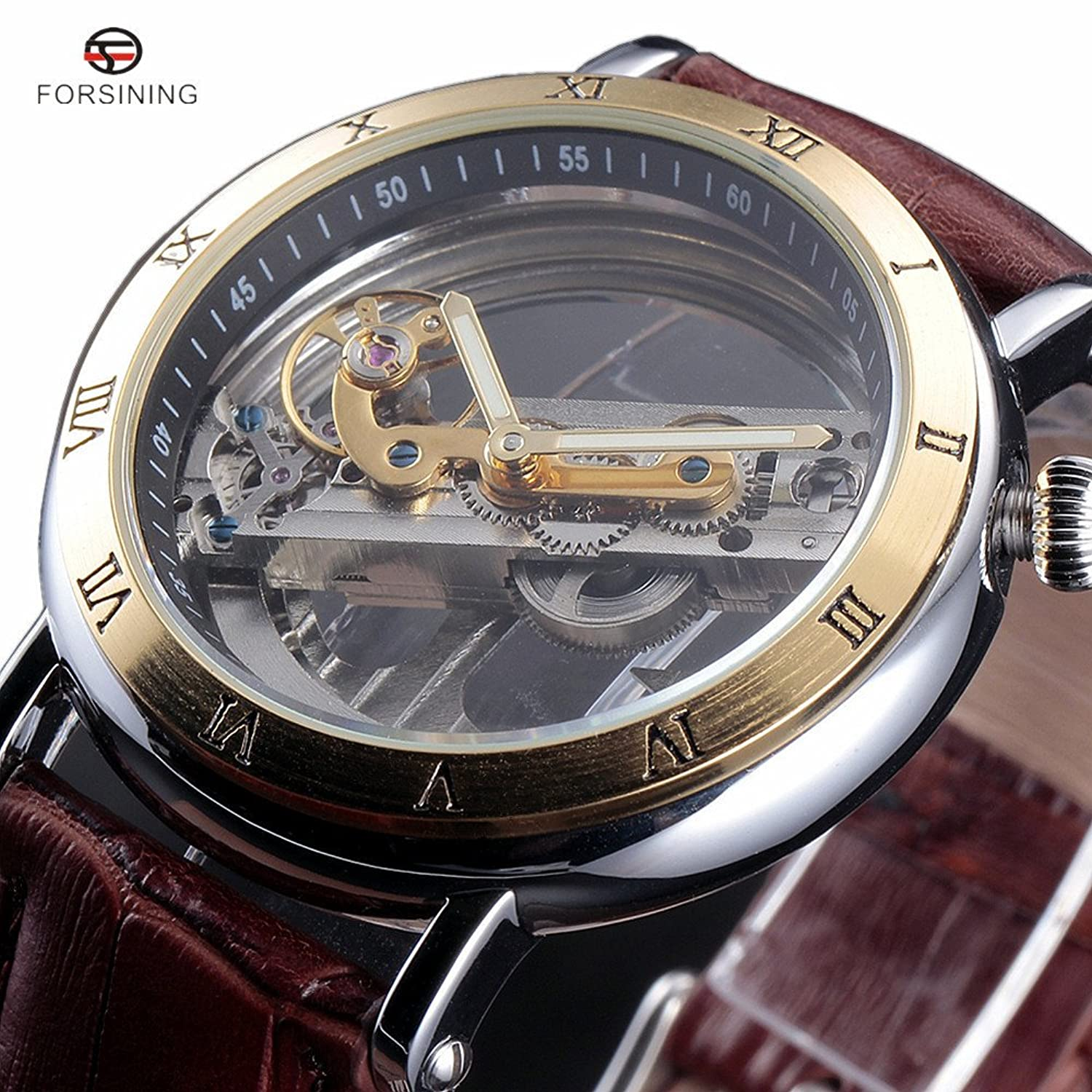 Amazon.com: FORSINING Watches Men Luxury Roma Case Transparent Skeleton Automatic Mechanical Leather Strap Antique Wristwatch: Watches