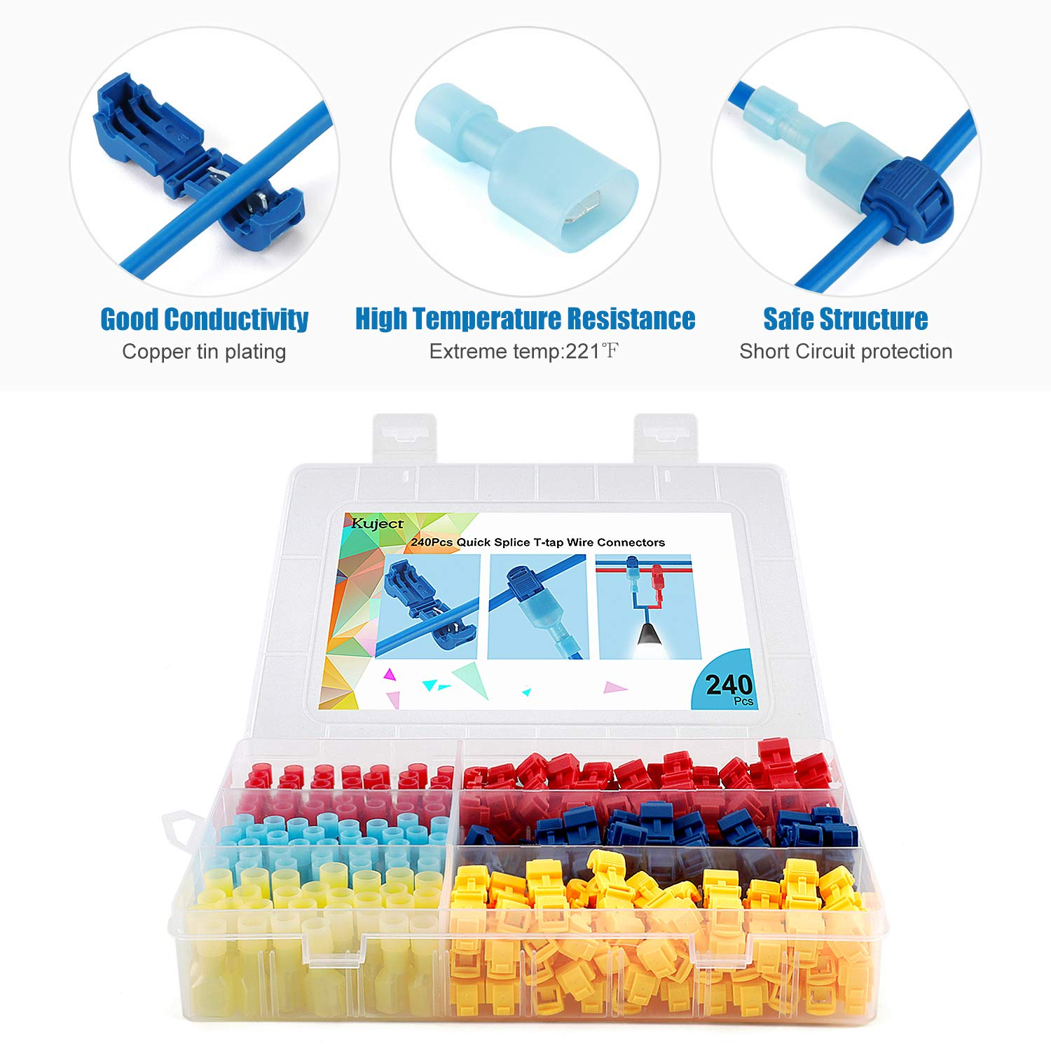Kuject 240Pcs T Tap Wire Connectors, 24-10 AWG Quick Splice Electric Wire Terminals, Self-Stripping Insulated Male Quick Disconnect Spade Terminals Assortment Kit with Case