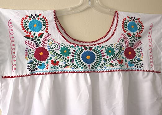 00a47a36ac3 Image Unavailable. Image not available for. Color  Hand Embroidered Mexican  Peasant Hippie Boho Blouse Plus Size 3X 4X