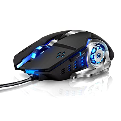 LENRUE Laser Gaming Mouse Wired with 6 Programable Buttons 4 Color Cycle  Breathing, High Precision Metal Base, Used for games and office (black)
