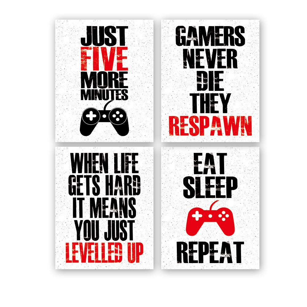 Funny Game Art Print Inspirational Words Quote Poster Set of 4 (10 ''X8 ''Canvas Gaming Wall Art For Kids Boy Bedroom Playroom Home Decor,No Frame by HPNIUB