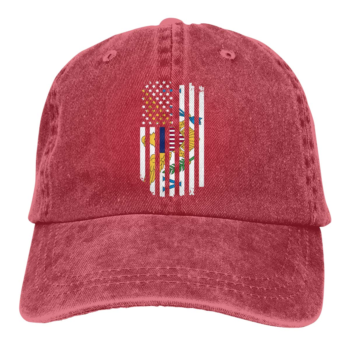 US Virgin Islands Flag3 Adult Custom Denim Casquette Adjustable Baseball Cap