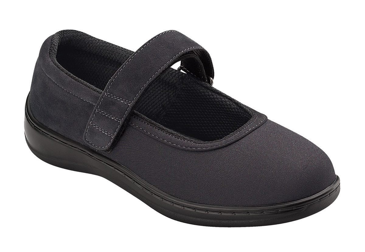Orthofeet 827 Women's Comfort Diabetic Extra Depth Stretch Shoe Black 8.5 Wide (D) Velcro