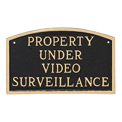 "Montague Metal Products Property Under Video Surveillance Statement Plaque, Black with Gold Letter, 5.5"" x 9"" : Garden & Outdoor"