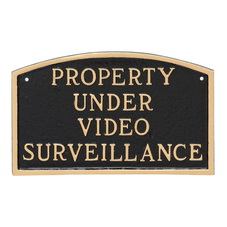 Montague Metal Products Property Under Video SurveillanceStatement Plaque, Black with Gold Letter, 5.5'' x 9'' by Montague Metal Products