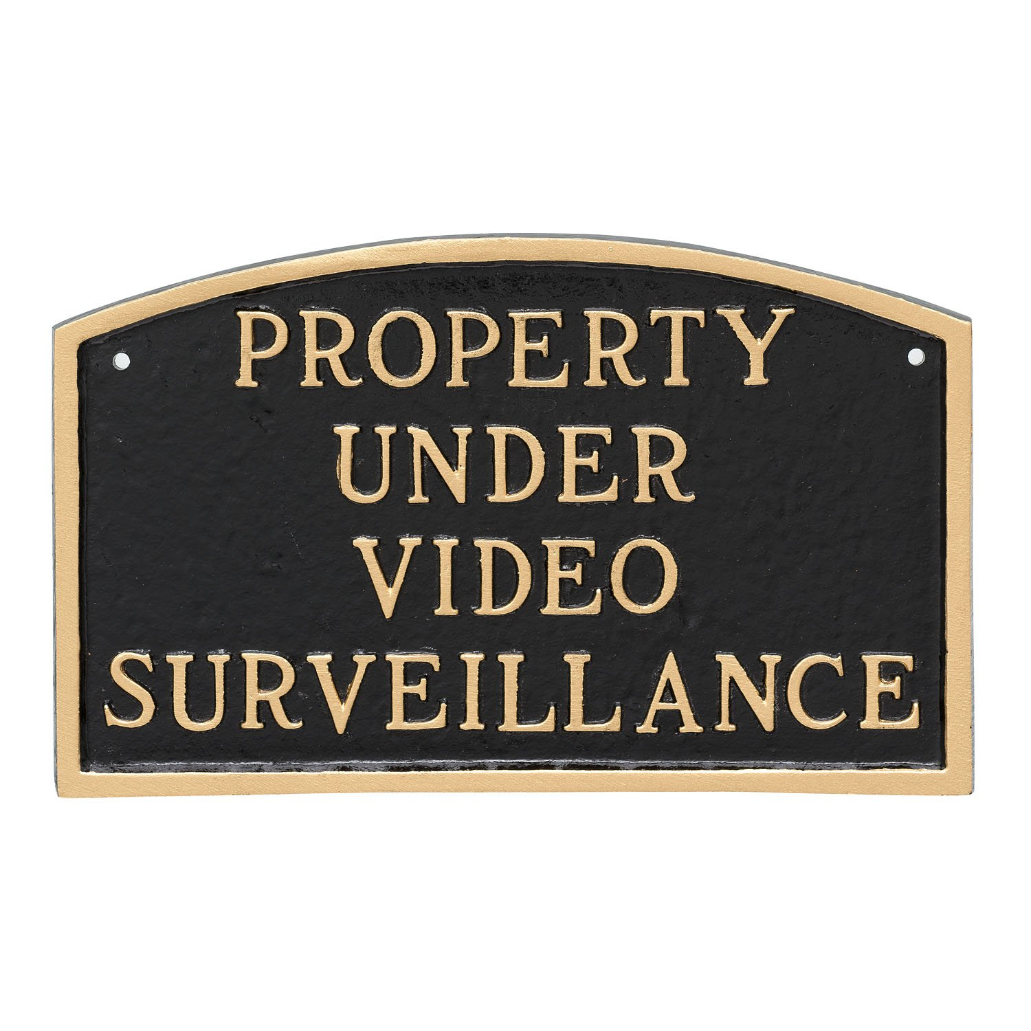 Montague Metal Products Property Under Video Surveillance Statement Plaque, Black with Gold Letter, 5.5'' x 9'' by Montague Metal Products