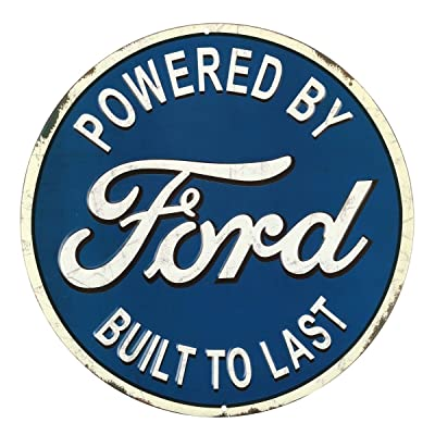 Open Road Brands Ford 'Built to Last Blue and White Embossed Tin Metal Button Sign - an Officially Licensed Product Great Small Gift and Addition to Add What You Love to Your Home/Garage Decor: Home & Kitchen