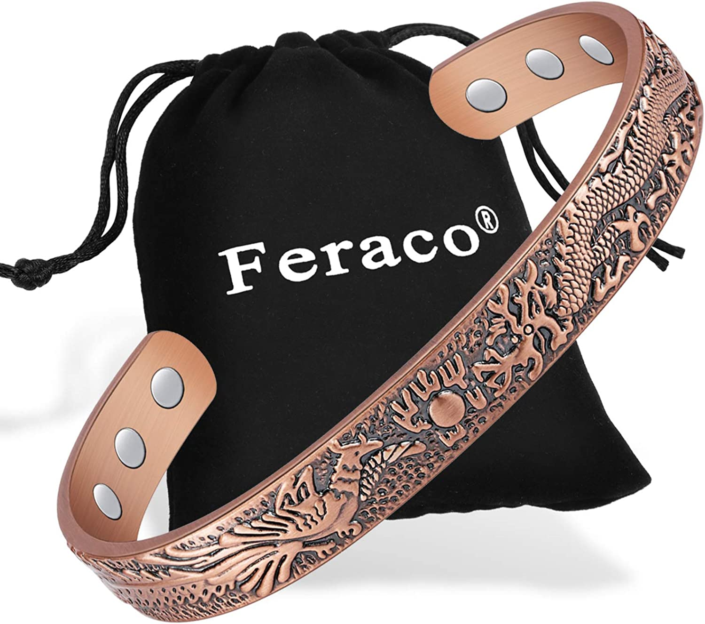 Feraco Magnetic Copper Bracelet for Women Men Vintage Dragon Phoenix High Gauge 99.9% Solid Copper Magnetic Therapy Bracelets Bangle Pain Relief for Arthritis Carpal Tunnel