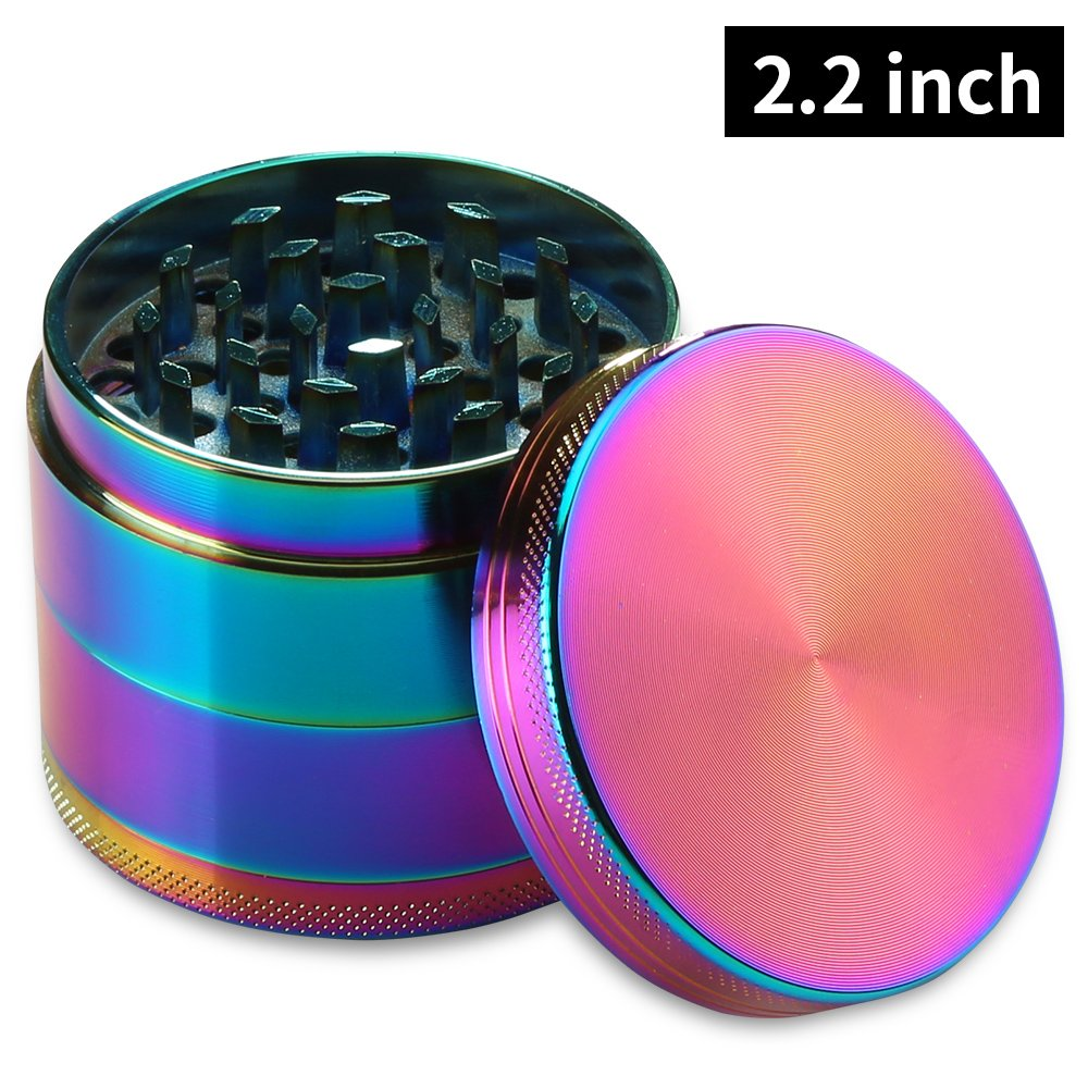 2.2 Inch 4 Piece Tobacco Spice Herb Grinder – Rainbow JINGLIANG 4335509855