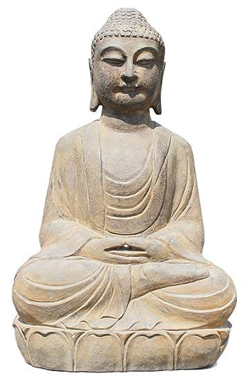 Asien Lifestyle Garten-Buddha Figur aus Stein (70 cm) Yoga-Buddha ...