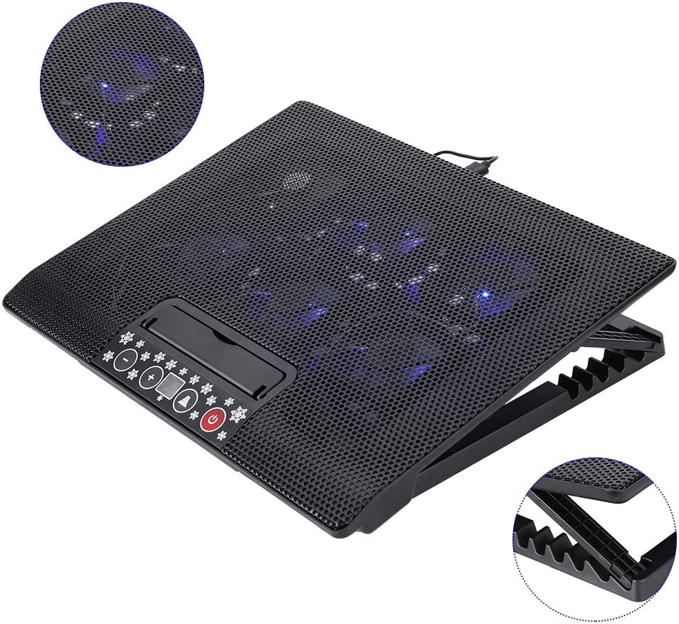 Ultra Quiet Laptop Cooler Stand with 6 USB Powered Fans at 1200RPM ASHATA Laptop Cooling Pad12-17 Gaming Laptop Cooling Pad with Blue LED Lights 6 Adjustable Height Speed Adjustable