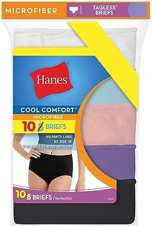 Hanes Mujer 10-pack Cool Comfort microfibra Varios Slip: Amazon.es: Ropa y accesorios