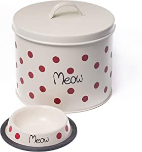 The PetSteel | Cream Polka Dot Cat Decorative Canister with Bowl | Pet Food and Treat Container Storage Set | Tight Fitting Lids