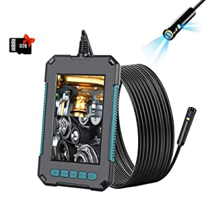Tinsay HD Dual-Lens Endoscope Camera, 4.3 inch IPS Color Screen 8mm Probe 8+1 Adjustable LED Lights, IP68 Waterproof Semi-Rigid Cable 32GB Card 2600mAh Battery Multi-Language for Photo/Video(16.5ft)