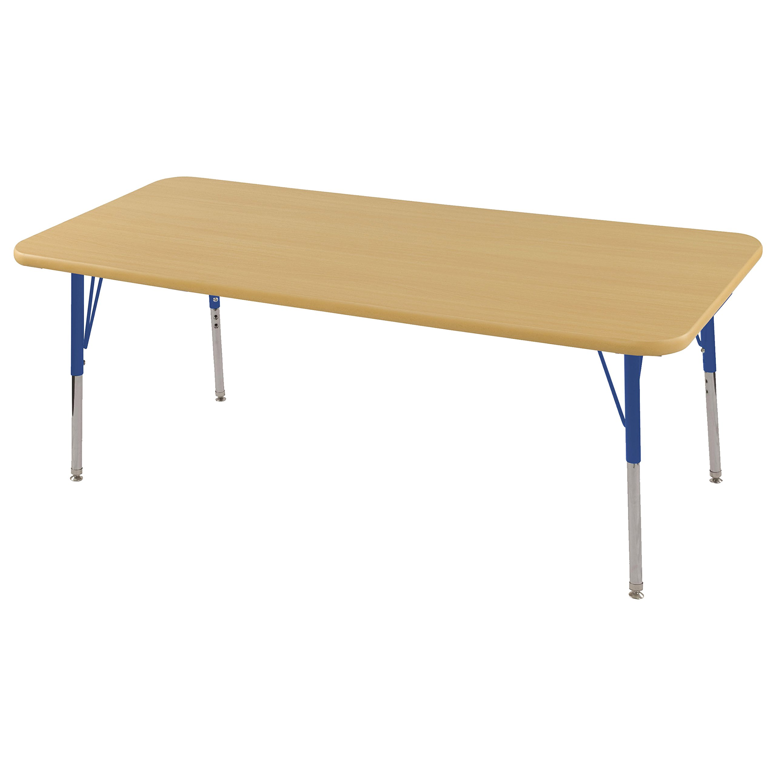 ECR4Kids Mesa Thermo-fused 30'' x 60'' Rectangular School Activity Table, Standard Legs w/ Swivel Glides, Adjustable Height 19-30 inch (Maple/Blue)