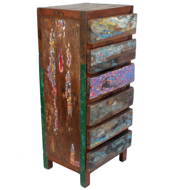 Wuona Objects Schrank 136 cm, 6 Schubladen, Bali altes Teak Bootsholz, massiv, verschiedene Farben, Schubladenschrank Handarbeit