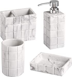 Shireen Home Rubic Marble Quartz Bathroom Accessory Complete Set. Lotion or soap Dispenser,Toothbrush Holder,Tumbler,Soap Dish