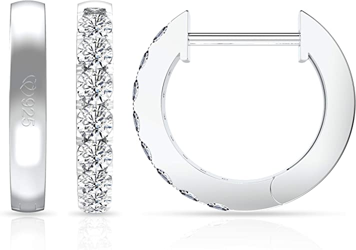 Authentic womens White Gold Plated CZ forever love Hoop Earrings free shipping