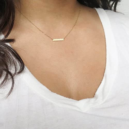 1d7c466d63c9e Amazon.com: Mini Bar Necklace Bridesmaids Gift Idea Skinny Bar ...
