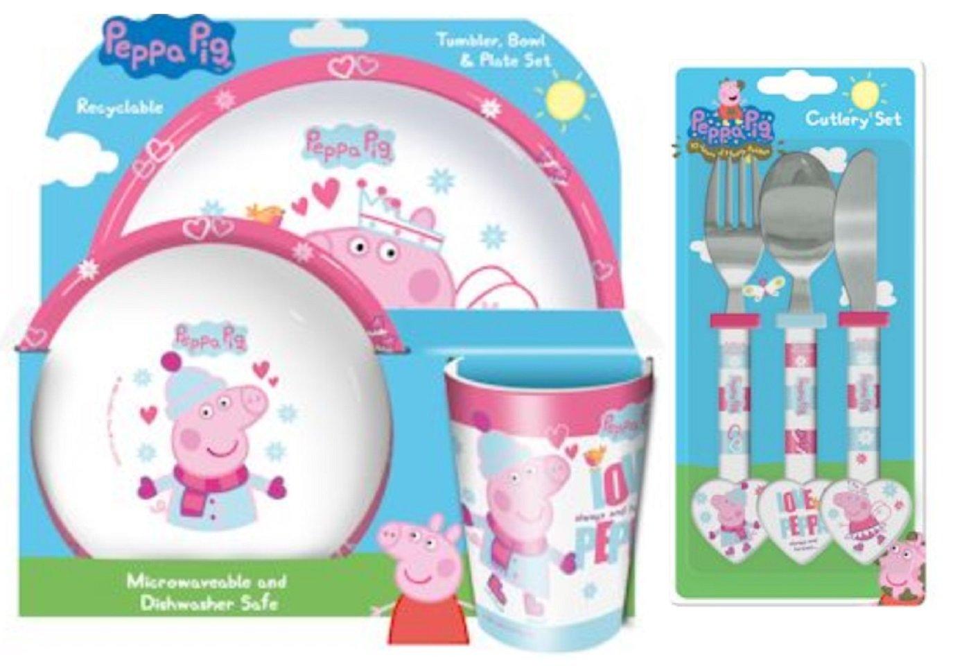 Spearmark Peppa Pig de invierno 6 piezas Vajilla de - Vaso para cepillo de dientes, cuenco, plato, cuchillo, cuchara y tenedor de: Amazon.es: Hogar