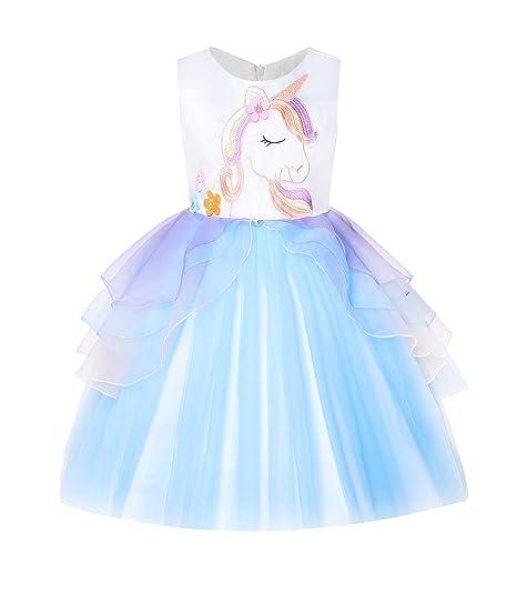 834401e51548f Amazon.com: JerrisApparel Girls Unicorn Tulle Dress Sleeveless Party  Costume Evening Gowns: Clothing