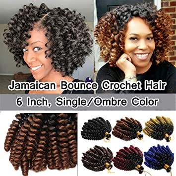 Amazon Com Sego 6 Inch Jamaican Bounce Crochet Hair Jumpy Wand Curl Short Curly Jamaican Crochet Braids Synthetic Crochet Braiding Hair Extensions Ombre Twist Braid Hair Black To Coffee Brown 3 Bundle Beauty